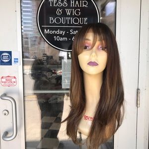 Accessories - Wig long brown earth tones rare bangs Lacefront